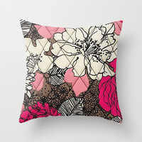Vera Bradley - Pink and Brown Floral Throw Pillow by PinkBerryPatterns