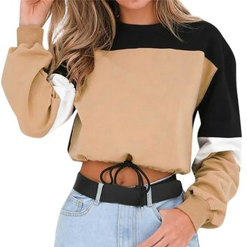 New Arrival 2018 Fashion Women Hoodies Cotton Long Sleeve Crop Top Sweatshirts Patchwork Loose Pullovers Sweatshirt Sudadera