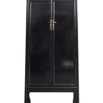 Chinese Oriental Black Lacquer Tall Armoires Cabinet cs1141S