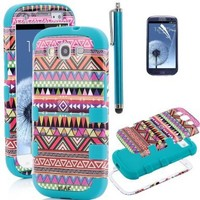 Pandamimi ULAK 3in1 Hybrid High Impact Pink Hard Aztec Tribal Pattern + Blue Silicone Case Cover For Samsung Galaxy S3 i9300 +Screen Protector +Stylus:Amazon:Cell Phones & Accessories