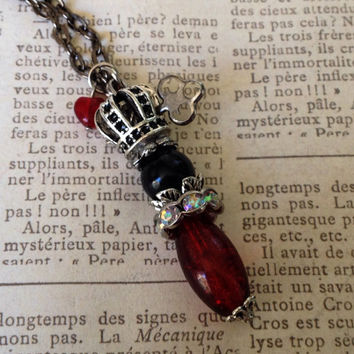 King of Hearts Necklace, Playing Card Necklace, Crown Necklace, Royal Necklace, King Necklace, Victorian Necklace, Victorian Inspired,