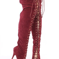 Burgundy Lace Up Thigh High Platform Boots Faux Suede