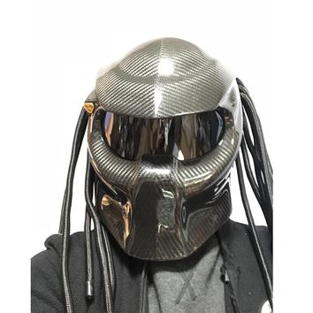 Knight Predator Carbon Fiber Motorcycle Helmet Full Face  Helmet Fringed Braids Black