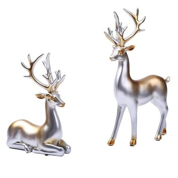 Deer Ornaments Creative Couple Silver Decorative Creative Fashion Deer Ornaments Deer Furnshing Crafts for Home Decorations