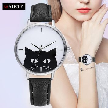 Gaiety Watch Women Girl Student Steel Case Leather Casual Fashion Female Cat Watches Luxury Brand Bracelet Quartz Watches G066