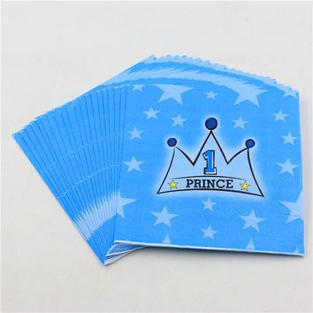 20pc\lot 1st Birthday Party tissues Kids Favors towel Decoration Blue Prince Crown Paper Disposable baby shower Napkins Supplies