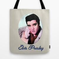young Elvis Presley digital photo art.  the king of music, rock 'n' roll.  Tote Bag by PatternWorld