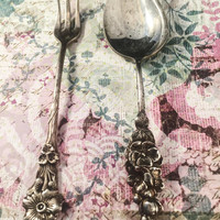 Reed & Barton Serving Ware, Harlequin, Silver Plate, Cocktail Fork, Jelly Spoon, Hostess Set, Vintage Serving Ware