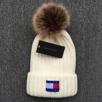 Tommy Hilfiger Knit And Pom Hat Cap White