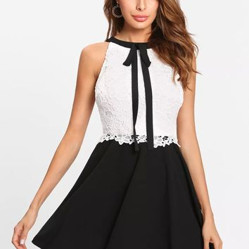 Contrast Lace Tied Neck Fitted & Flared Dress