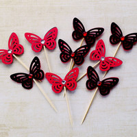 Gothic Cupcake Toppers, Butterfly Cupcake Toppers, Birthday Party, Bachelorette Party, Teen Party, Red and Black cupcake toppers with gems