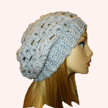Slouchy Hat Beanie Heather Grey Slouch Women Teen Light Gray Spring Crochet Hat