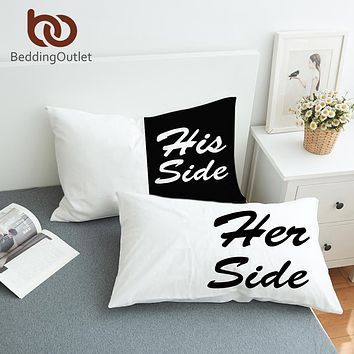 BeddingOutlet Black and White Bed Pillow Case Soft Pillowcase His Her Side Couple Pillow