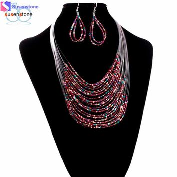 Womens  Jewelry Multicolor Multi-layer Resin Beads Necklaces and Earrings Set - Free Shipping