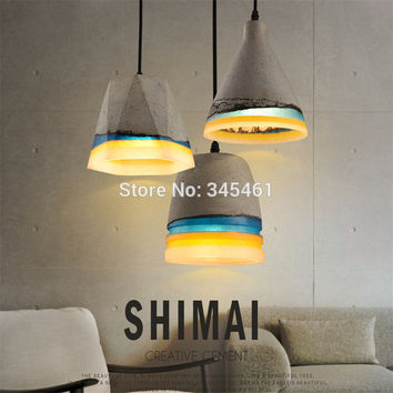 Retro Rainbow Modern Pendant Lights Resin Cement Art Cord Pendant Lamp E27 Pendant Industrial Lighting Fixture For Restaurant