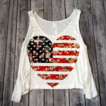 Merica Flag Heart Crop Top