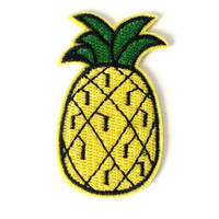 Embroidered Pineapple, fruit, food, Iron-on Patch, badge, Applique, Motif