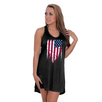 Women's USA Flag Distressed Summer Tank Dress Swimwear Cover-up