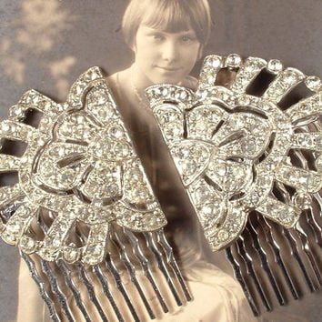 PAIR Art Deco Rhinestone Bridal Hair Combs,  Original 1920s - 1930s Vintage Flapper Heirloom Pave Fur Clips to OOAK Haircombs Great Gatsby
