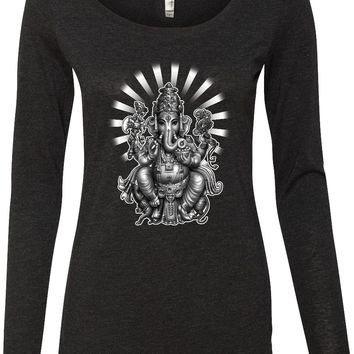 Womens Yoga T-shirt Ganesha Lightweight Long Sleeve