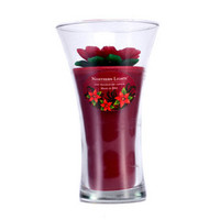 Floral Vase Fine Fragranced Candle - Red Poinsetta with Red Base 9 inch