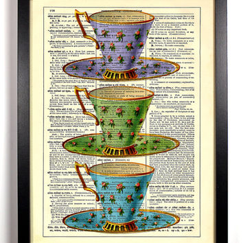 Time For Tea Teacups, Vintage Illustration, Eco Friendly Home, Kitchen, Bathroom, Nursery Decor, Dictionary Book Print Buy 2 Get 1 FREE