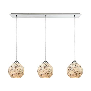 10741/3LP Crosshatch 3 Light Linear Pan Fixture In Polished Chrome With Spatter Mosaic Glass - Free Shipping!