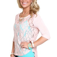 Lovely in Lace Top in Blush