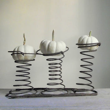 Rusty Car Seat Springs | Salvaged Set of 3 Springs on Rails | Seasonal Home Decor | Rustic Farmhouse Cottage Chic