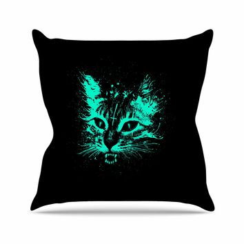 "Barmalisirtb ""Angry Cat"" Black Blue Digital Throw Pillow"