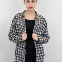 Vintage Beige and Navy Plaid Flannel Shirt