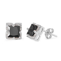 Sterling Silver Halo Princess Cut Simulated Black Diamond CZ 8MM Earrings