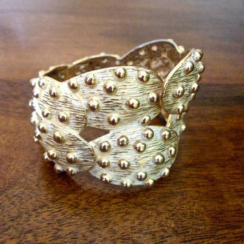 Gold Tone Bracelet Hinged Cuff, Prickly Pear Cactus Tortolani Style, Vintage,