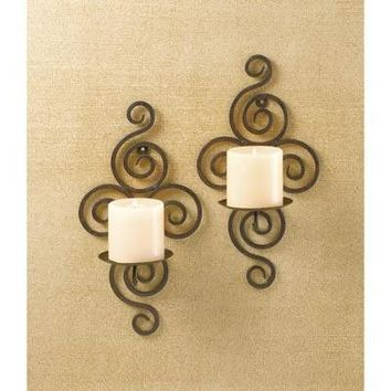 Black Wrought Iron Scrollwork Candle Wall Sconce Pair