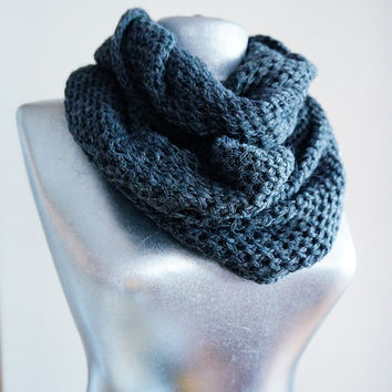 Handmade Knitting Infinity Scarf - Cotton Wool Yarn - Gray - Winter Autumn Scarf - Men Unisex Scarf