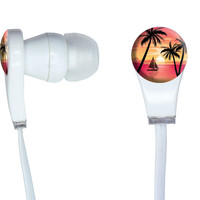 Pink and Orange Beach Sunset - Palm Trees Ocean Sail Boat Vacation In-Ear Headphones
