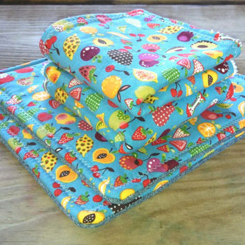 Set of 2 Homemade Pot Holders with Coordinating 2 Dish Rags / Fruit Themed Kitchen Set / Kitchen Gift Set / Wedding Gift / Housewarming Gift
