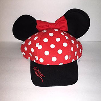 Disney Parks Minnie Mouse Polka Dot Snapback Hat Cap Bow & Ears