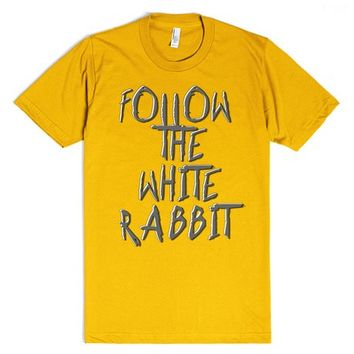 Alice in Wonderland book quote, follow the white rabbit | T-Shirt | SKREENED