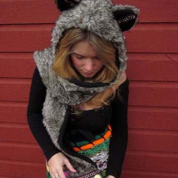 CUSTOM Made To Order Wolf Spirit Totem Faux Fur Animal Hoodie/Scoodie With Pockets by MoutainGirlClothing