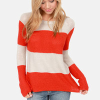 Olive & Oak Set of Stripes Red Orange Striped Sweater