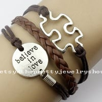 Believe in love bracelet puzzle piece bracelet,jigsaw puzzle charm bracelet,autism awareness,jewelry bracelet friendship gift.-T172