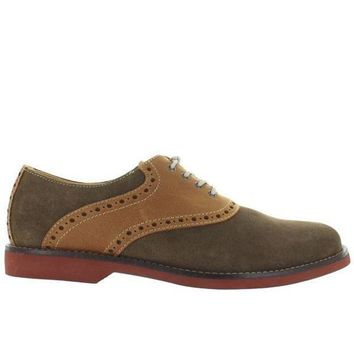 CREYONIG Bass Parker - Olive Suede/Tan Leather Saddle Shoe