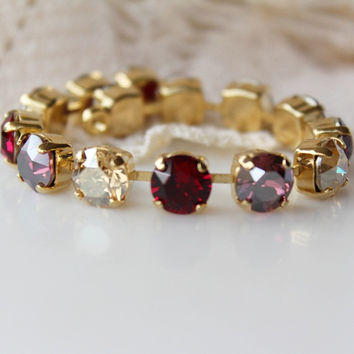 NEW: Dahlia Rhinestone Tennis Bracelet, Swarovski Crystal, Wedding Jewelry, Rhinestone Bridal Bracelet, Ruby, Rose Satin, Champagne