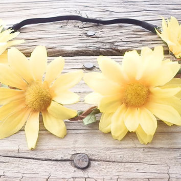 Yellow Daisy Flower crown Flower Head Wrap Floral crown Hippie flower crown Boho flower Crown White, Yellow, Pink Flower crown Festival