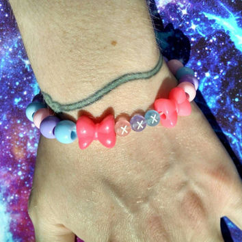 Pink Purple Blue Pastel Rocker Kandy Stretch Bracelet Triple X Kawaii Sweet Lolita Fairy Kei Jewelry