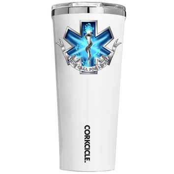 Corkcicle EMT EMS On Call for Life Blue Badge on White 24 oz Tumbler Cup