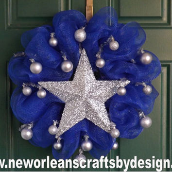 Holiday Blue Deco Mesh Wreath with Silver Star and Ornaments