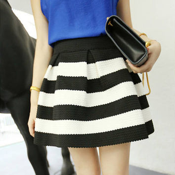 High Waist Stripe Mini Skirt