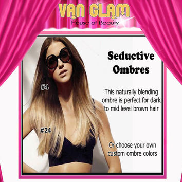 Create Your Custom Ombre, Clip In, Hair Extensions, 24""